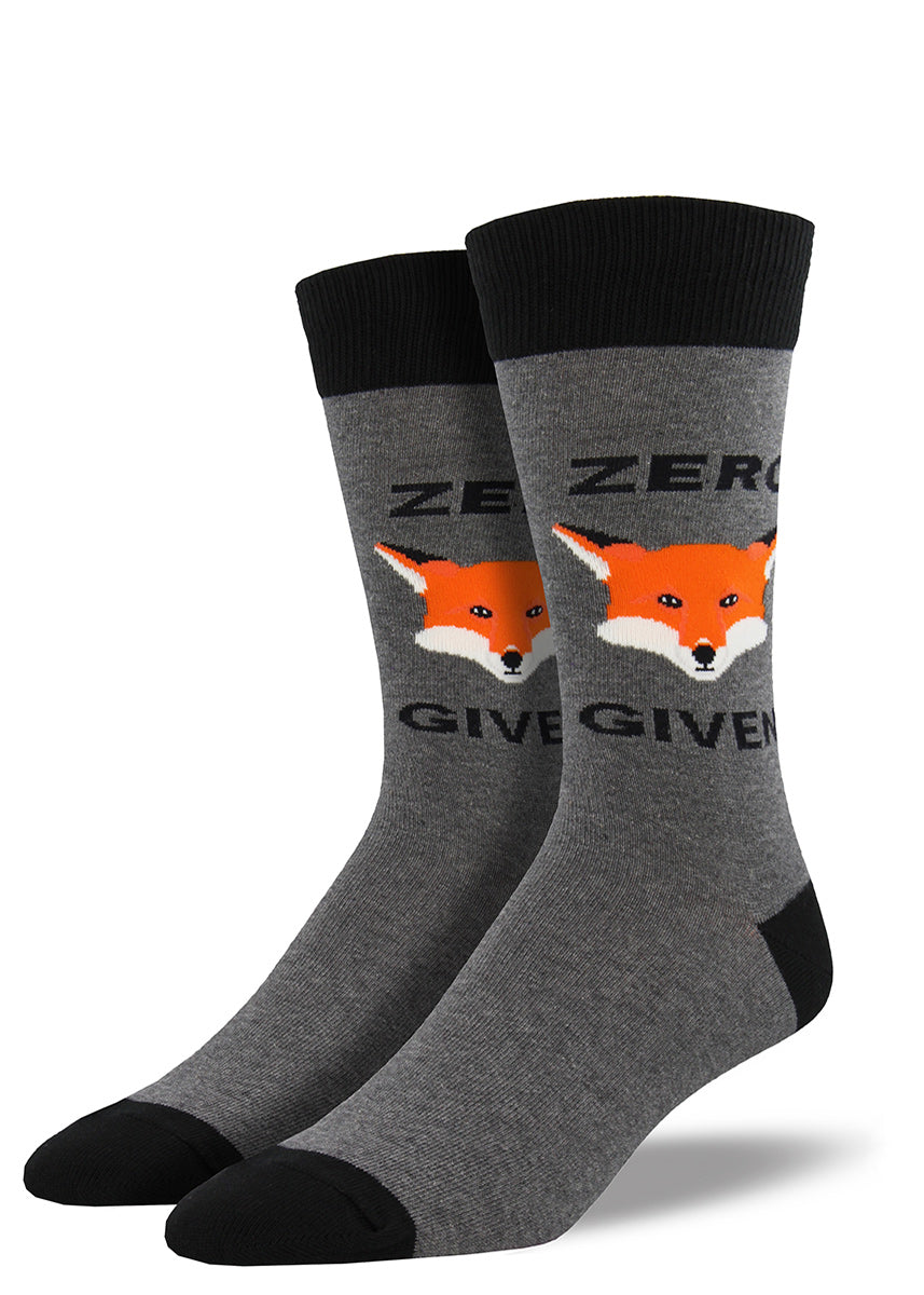 "Funny fox socks for men with that say ""Zero Fox Given"""