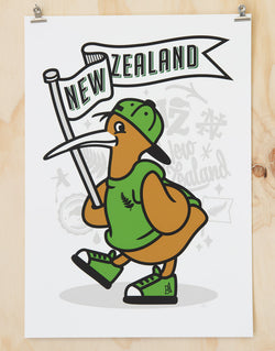 New Zealand kiwi print by Glenn Smith