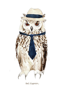 Owl Capone A4 Print by Mister Peebles