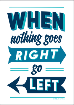 'Right/Left' Print by Glenn Smith (Blue)