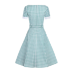 Roberta Gingham swing dress-green