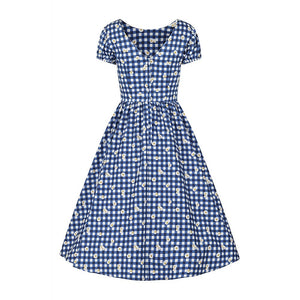 Demira Gingham Daisy swing dress blue
