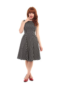 Hepburn polka dot doll dress black/white