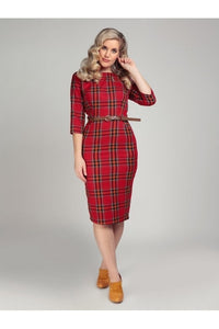 Adeline berry check pencil dress