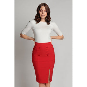 Simona Pencil skirt red