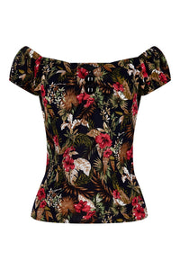 Dolores Lanai Hibiscus top black