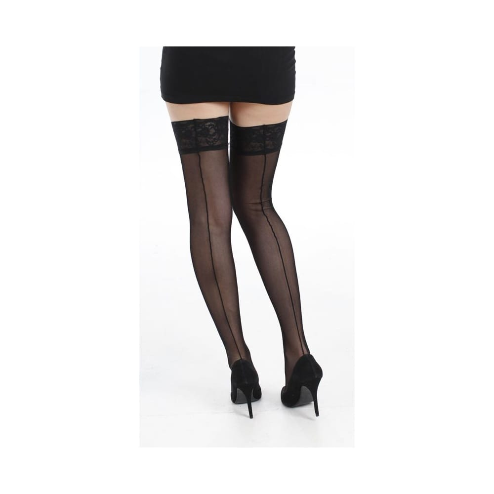 Tulle seamed lace top hold ups-black