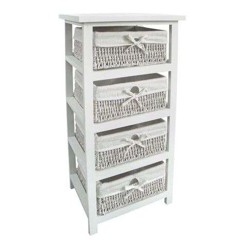4 Storage Baskets White - Smart Furniture London