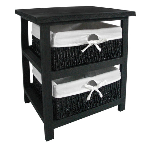 Black Storage Side Table with 2 Maize Baskets - Smart Furniture London