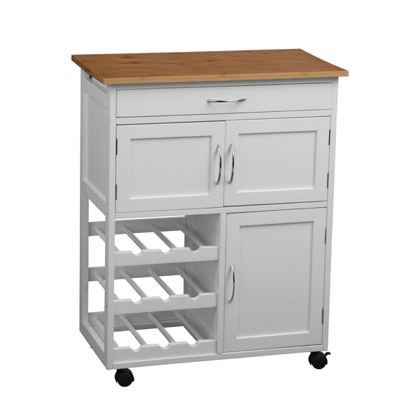 Wood Top White Kitchen Trolley with Doors