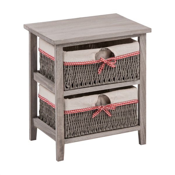 grey storage side table with 2 maize baskets
