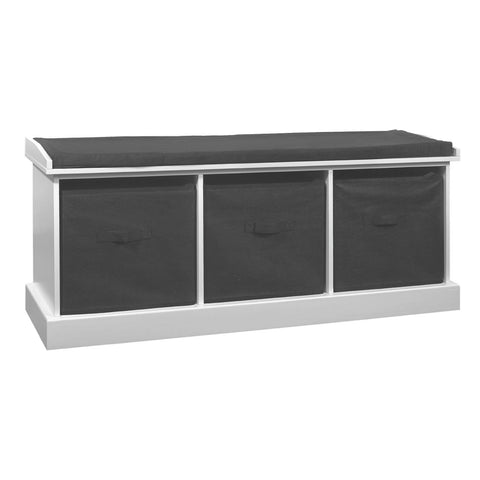 Grey & White Storage Bench with Seat Pad - Smart Furniture London