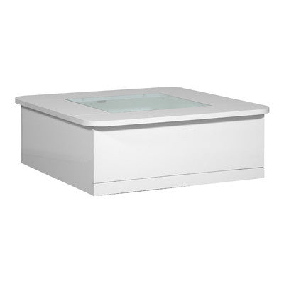 Stylish Square White High Gloss Storage Coffee Table with Glass Top and Built in Lighting - Smart Furniture London