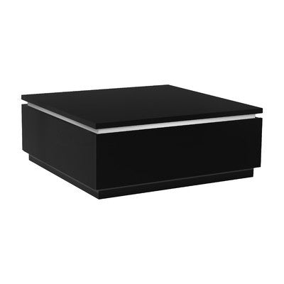 Elegant Black High Gloss Square Storage Coffee Table with Built in Lighting - Smart Furniture London