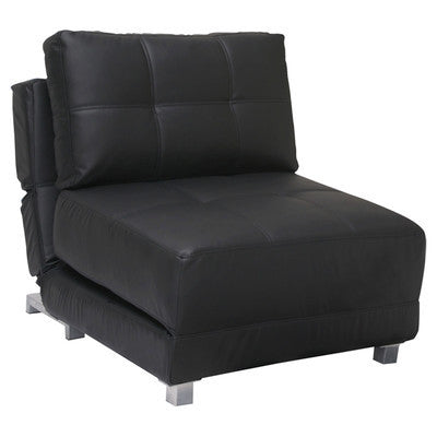 Black Leather 1 Seater Clic-Clac Chair Bed - Smart Furniture London