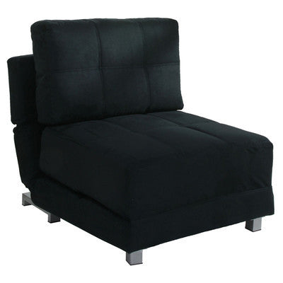 Black Faux Suede 1 Seater Clic-Clac Chair Bed - Smart Furniture London