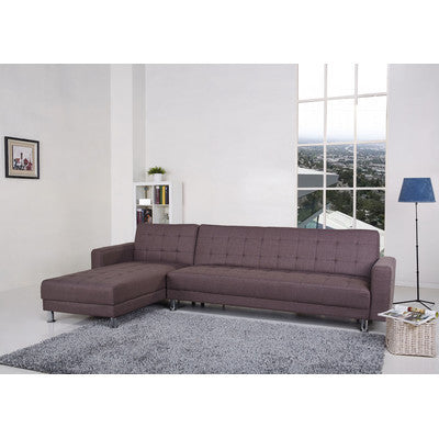 4 Seater Chocolate Brown Fabric Clic-Clac Corner Sofa Bed (2 Bed Option) - Smart Furniture London