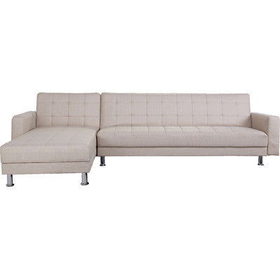 4 Seater Latte Cream Fabric Clic-Clac Corner Sofa Bed (2 Bed Option) - Smart Furniture London