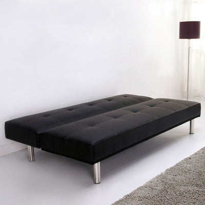 Simplicity black faux suede 3 seater clic clac sofa bed - Clic clac grande taille ...