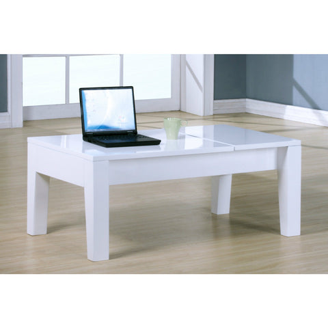 Lift Up White High Gloss Finish Coffee / Laptop Table - Smart Furniture London