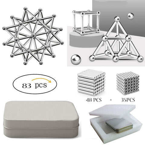 Creative Magnetic Sticks And Steel Spheres - 83pcs