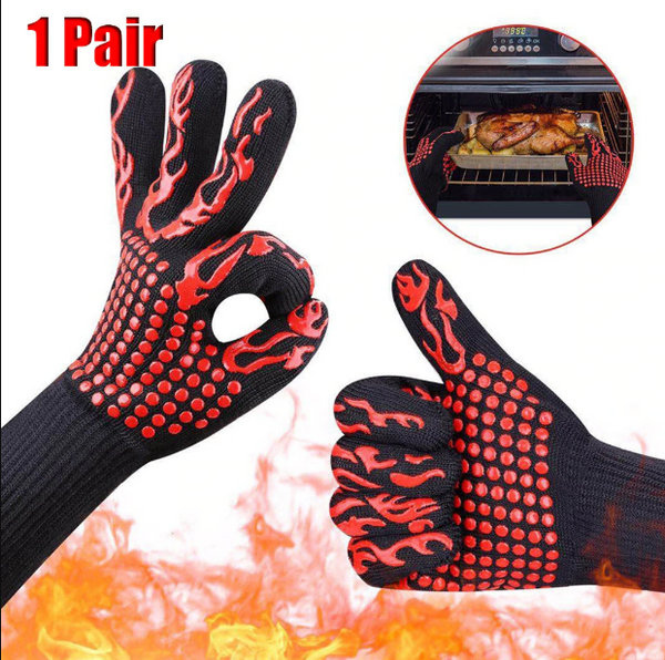 BBQ Gloves, 1472°F Heat Resistant Grilling Gloves Silicone Non-Slip Oven Gloves Long Kitchen Gloves for Barbecue, Cooking, Baking, Welding, Cutting