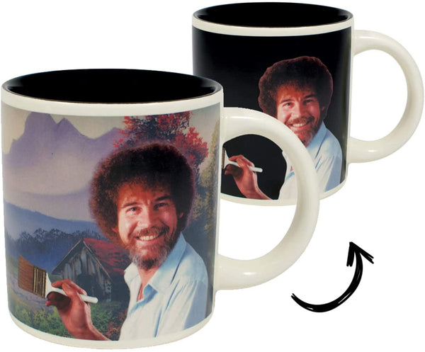 Bob Ross Heat Changing Mug - Add Coffee or Tea and a Happy Little Scene Appears