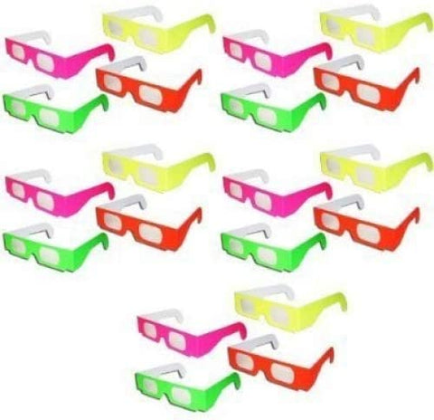 20 Pairs - Neon Prism Diffraction 3D Fireworks Glasses For Laser Shows