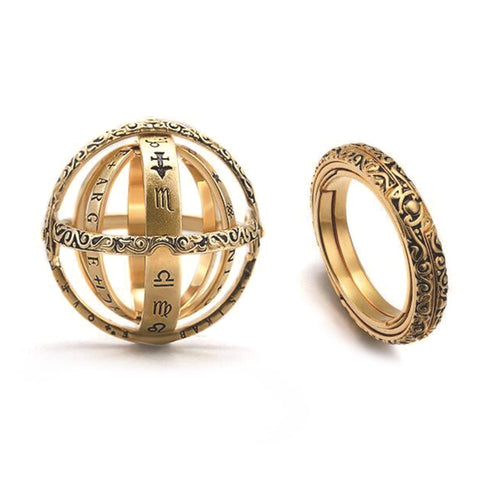 Creative Germany Gold Jewelry Astronomical Sphere Ball Rings