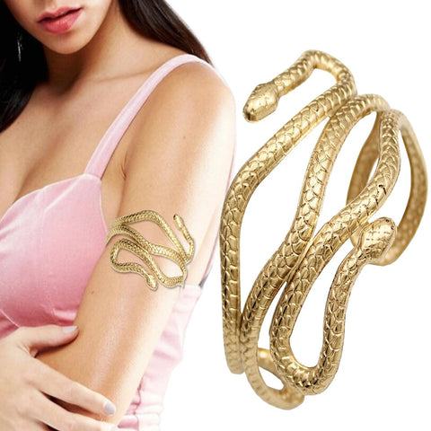 Retro Gold Greek Roman Laurel Leaf Snake Armband