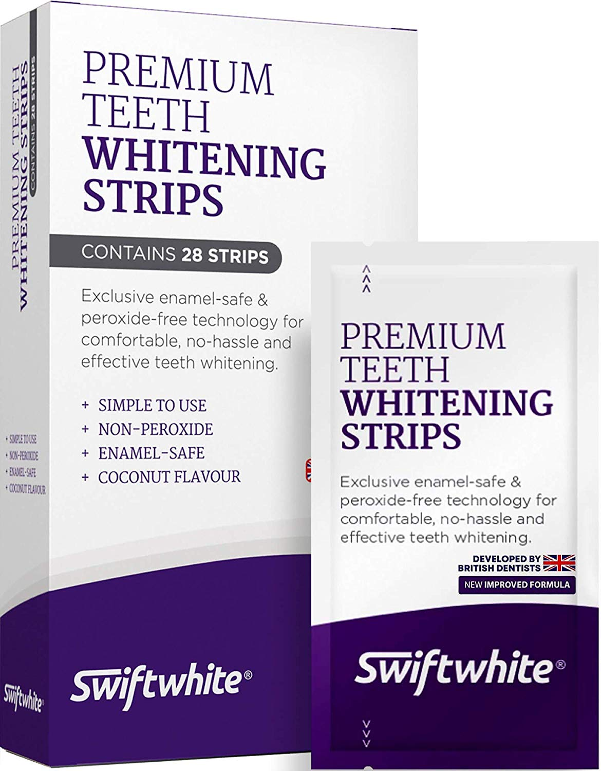 SwiftWhite Premium Non Peroxide Teeth Whitening Strips box