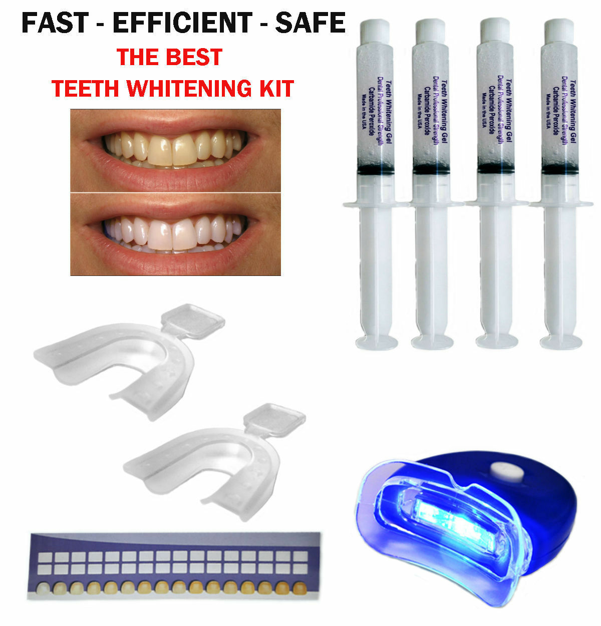 FULL WHITENING KIT: 44% Carbamide Peroxide Gel & Trays & Case