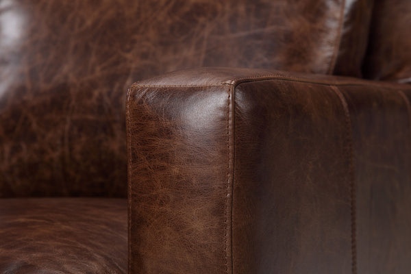 Armrest of the Belgian leather chair