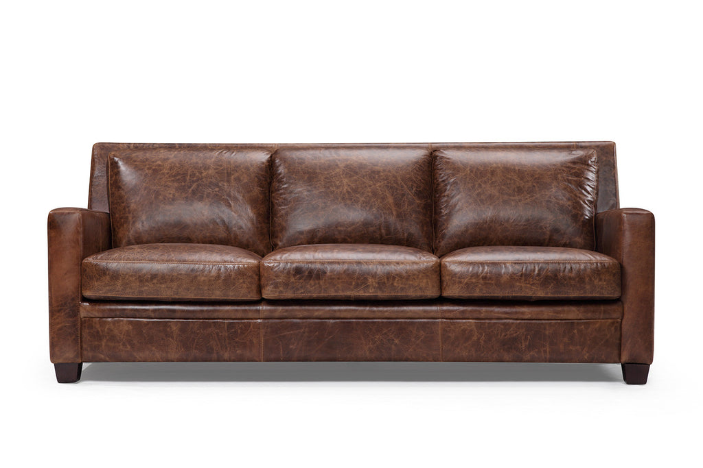 The Belgian Slope Arm Leather Sofa