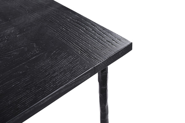 Black Oak-and-Iron Dinner Table - DT05