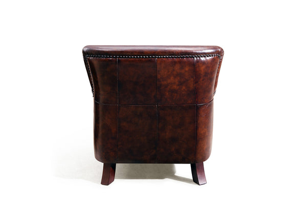 Back of the Cambridge Brown Leather Armchair from Rose & Moore