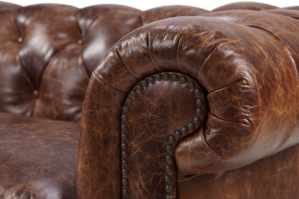Armrest of the Kensington Chesterfield Leather Sofa by Rose & Moore