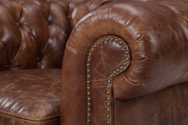 Armrest of the Kensington Chesterfield Leather Chair