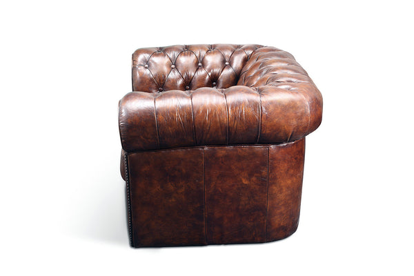 Side of the Original Chesterfield Leather Chair by Rose & Moore
