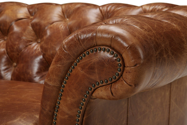 Armrest of the Westminster Tufted Leather Couch