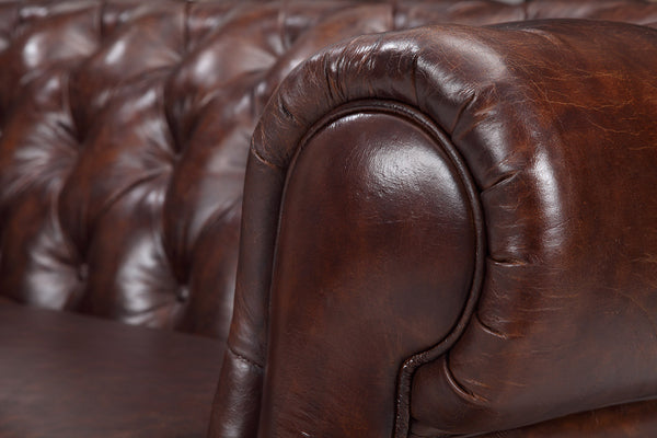 Armrest of the Chelsea Tufted Leather Sofa