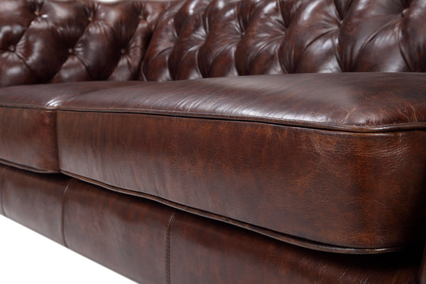 Seat of the Chelsea Tufted Leather Sofa