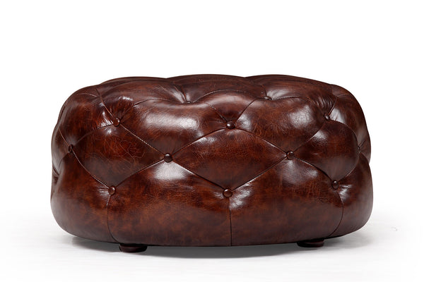 Medium Leather Chesterfield Footstool RM-248