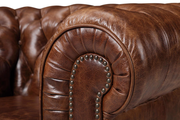 Armrest of the Original Chesterfield Leather Chair