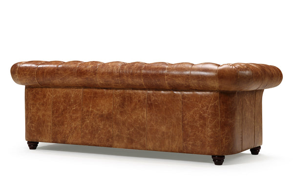Back of the Westminster Tufted Leather Couch