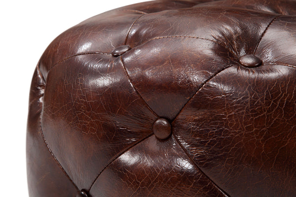 Small Chesterfield Leather Ottoman