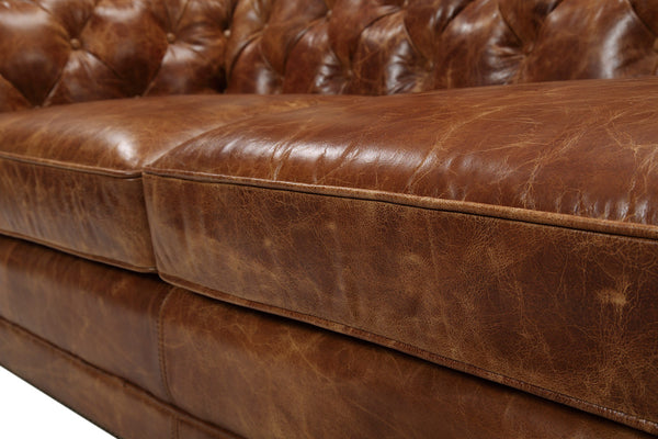 Seat of the Westminster Tufted Leather Couch