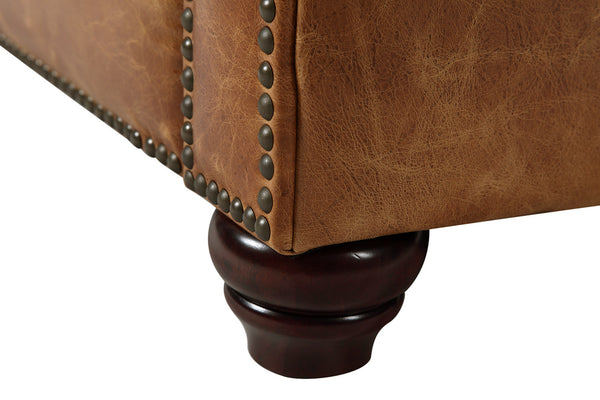 Foot of the Westminster Tufted Leather Couch