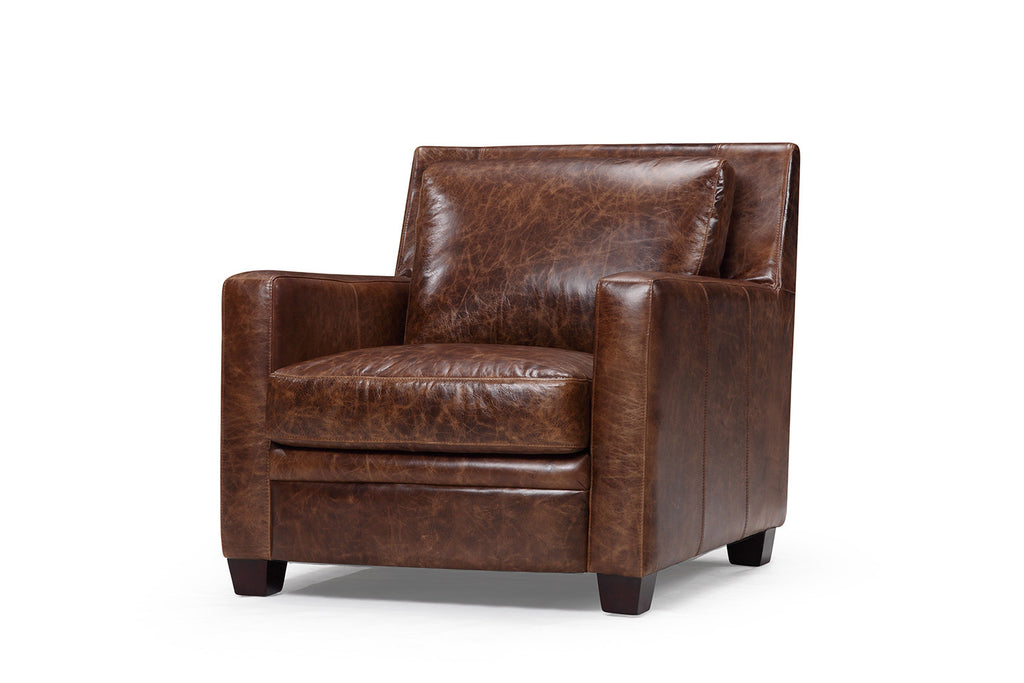 The Belgian Slope Arm Leather Chair