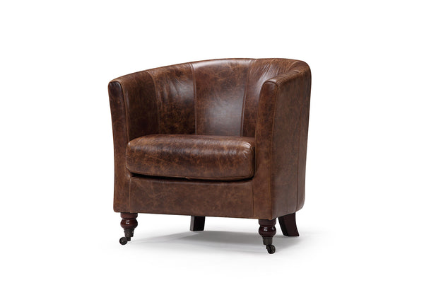 Curved armrests leather chair